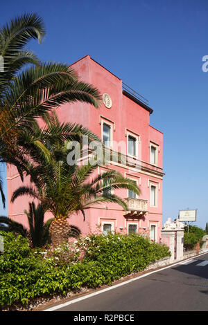 Hotel, La Pensione Svizzera, Taormina, Messina, Sicily, Italy, Europe - Stock Photo
