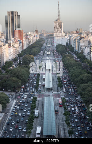 Buenos Aires, Argentina - May 4 2015: Rush hour and traffic on the sreets of Buenos Aires city. This photo shows the downtown and Eva Peron in 9 de Ju Stock Photo