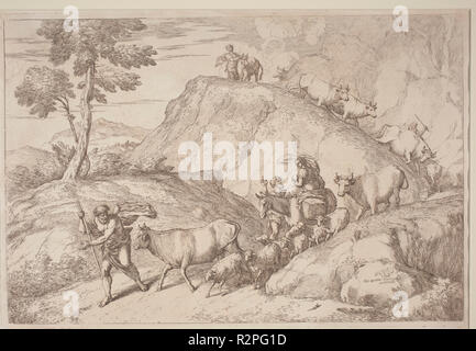 An Elderly Shepherd Leading the Flock. Dated: 1758/1759. Medium: etching in sanguine on laid paper. Museum: National Gallery of Art, Washington DC. Author: Gaetano Zompini, after Giovanni Benedetto Castiglione. - Stock Photo