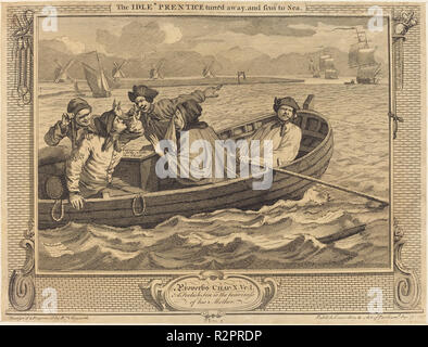 The Idle 'Prentice turn'd away, and sent to Sea. Dated: 1747. Medium: etching and engraving. Museum: National Gallery of Art, Washington DC. Author: William Hogarth. - Stock Photo