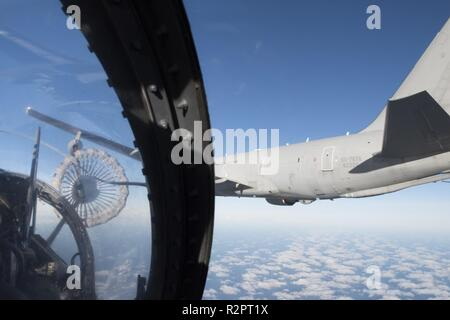 View from the cockpit of a Mirage 2000 of the French Air Force getting ready to be refueled by an Italian KC767 tanker in the Norwegian airspace during exercise Trident Juncture 2018 on Oct 28.    With around 50,000 personnel participating in Trident Juncture 2018, it is one of the largest NATO exercises in recent years. Around 250 aircraft, 65 vessels and more than 10,000 vehicles are involved in the exercise in Norway. - Stock Photo