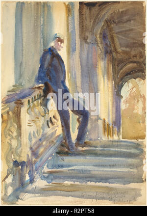 Sir Neville Wilkinson on the Steps of the Palladian Bridge at Wilton House. Dated: 1904/1905. Dimensions: sheet: 35.6 × 25.3 cm (14 × 9 15/16 in.). Medium: watercolor over graphite on wove paper. Museum: National Gallery of Art, Washington DC. Author: John Singer Sargent. - Stock Photo