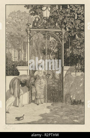 At the Gate (Am Thor): pl. 3. Dated: 1887. Dimensions: image: 40.9 x 27 cm (16 1/8 x 10 5/8 in.)  plate: 45.8 x 31.7 cm (18 1/16 x 12 1/2 in.)  sheet: 60.5 x 31.6 cm (23 13/16 x 12 7/16 in.). Medium: etching. Museum: National Gallery of Art, Washington DC. Author: Max Klinger. - Stock Photo