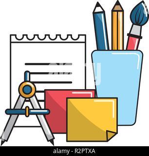 Isolated school supplies design