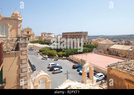 View of the Old Town with Town Hall from Palazzo Nicolaci, Noto, UNESCO World Heritage cultural site, Val di Noto, Province of Syracuse, Sicily, Italy, Europe - Stock Photo