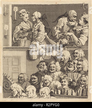 The Laughing Audience. Dated: 1733. Medium: etching. Museum: National Gallery of Art, Washington DC. Author: William Hogarth. - Stock Photo
