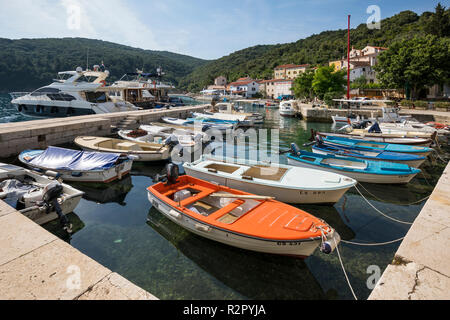 Boats in the harbour of Valun, Island of Cres, Kvarner Bay, Croatia - Stock Photo