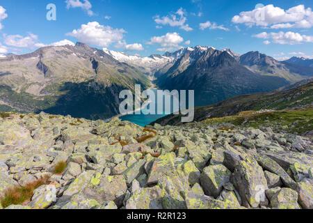Schlegeis Stausee seen from near the Olperer Hut, Zillertal Alps, Tyrol, Schwaz district, Austria - Stock Photo