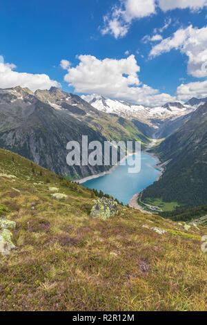 Schlegeis Strausee seen from near the Olperer Hut, Zillertal Alps, Tyrol, Schwaz district, Austria - Stock Photo