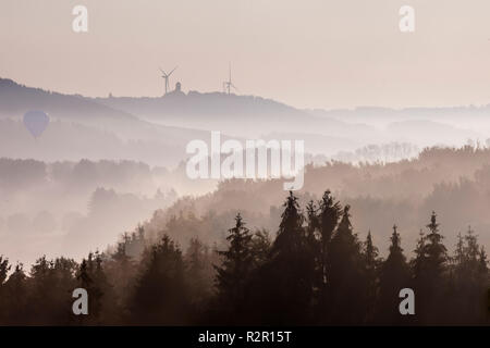 View through Möhne valley from Belecke towards Rüthen on the Haarstrang, With hot air balloon, Belecke, Sauerland, Arnsberger Wald, Germany, - Stock Photo