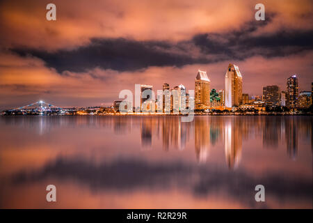 Beautiful sunset view of the city of San Diego California with bay and skyline - Stock Photo