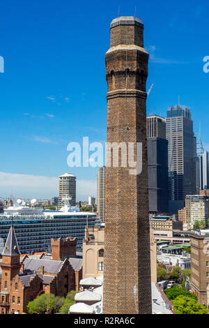 Brick chimney stack of the Old Mining Museum Building in the Rocks Sydney NSW Australia. - Stock Photo