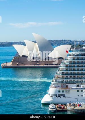 Royal class cruise ship Majestic Princess, Sydney Opera House and Sydney Harbour NSW Australia. - Stock Photo