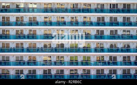 Balconies of Royal Class Majestic Princess cruise ship. - Stock Photo