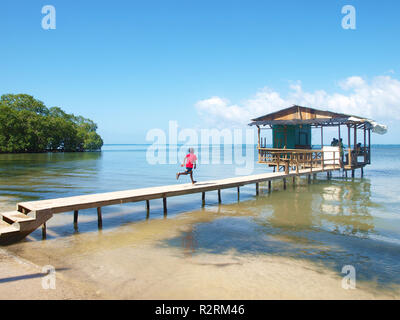 View of bungalow over the sea - Stock Photo