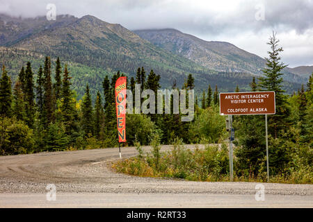 A view of the Arctic Interagency Visitor Center sign in Coldfoot on Dalton Highway in Alaska, USA - Stock Photo