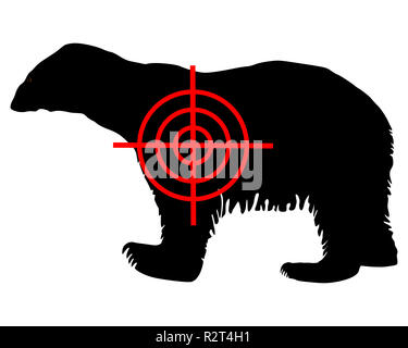 polar bear crosshair - Stock Photo