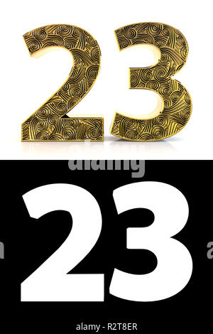 Golden number twenty-three (23 years) on white background with pattern style Zentangle, drop shadow and alpha channel. 3D illustration. - Stock Photo