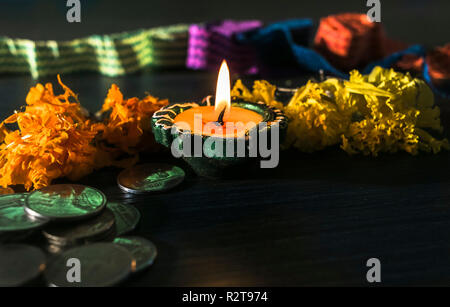 A typical view of diya arranged for celebrating diwali and dhanteras in Asia - Stock Photo