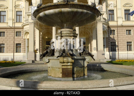 fountain in front of national theater,bratislava - Stock Photo
