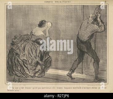 V'la une p'tite femme qu'est pas paresseuse ... Dated: 19th century. Medium: lithograph. Museum: National Gallery of Art, Washington DC. Author: HONORÉ DAUMIER. - Stock Photo