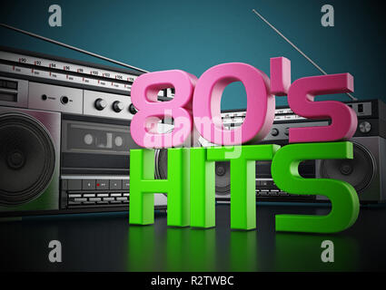 Vintage cassette player and 80's hits text  3D illustration