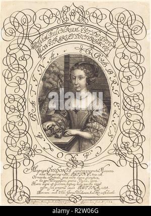 Gabrielle Carola Patina. Dated: c. 1682. Medium: engraving. Museum: National Gallery of Art, Washington DC. Author: Susanne Maria von Sandrart. - Stock Photo
