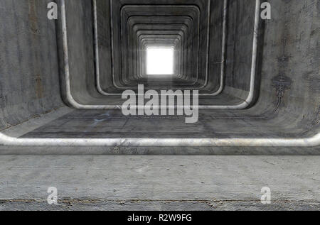 A look down a concrete tunnel made out of square geometric shapes with a light in the distance at the far end - 3D render - Stock Photo
