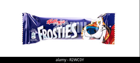 SWINDON, UK - NOVEMBER 18 2018: Kelloggs Frosties cereal bar on white background - Stock Photo