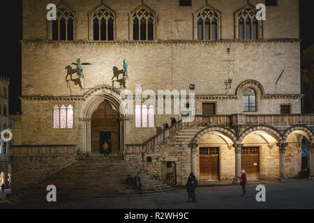 Perugia, Italy - January 2018. Front façade of the Palazzo dei Priori (the medieval Town Hall) in the main square of the town. - Stock Photo
