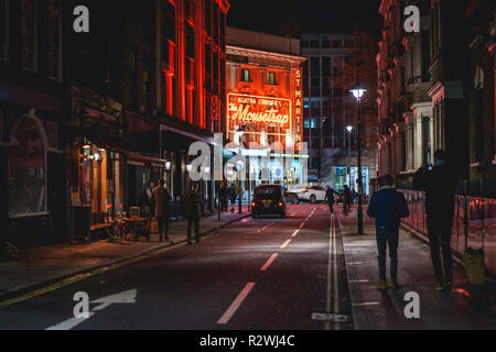 London, UK - February, 2019. A theatre in the West End in central London at night. - Stock Photo