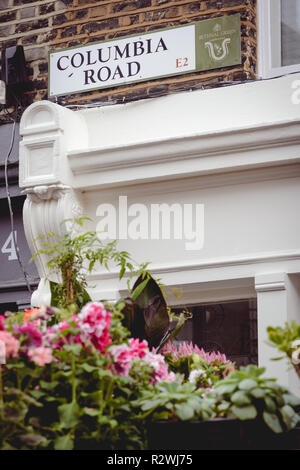 London, UK - February, 2019. Road sign in Columbia Road in East London, where a famous weekly flower market is held every Sunday. - Stock Photo