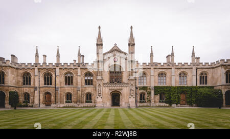 Cambridge, UK - February, 2019. Internal court of the Corpus Christi College (full name 'The College of Corpus Christi and the Blessed Virgin Mary'. - Stock Photo