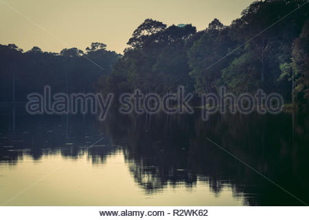 romantic landscape with reflections in the lake in angkor wat - Stock Photo