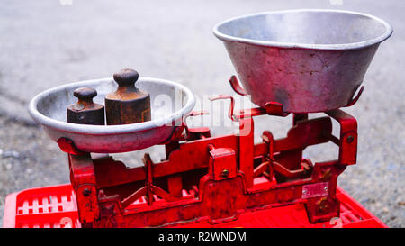 Old vintage vegetables scales on the street. - Stock Photo