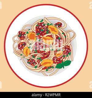 Pasta with spagetti, meat sause, tomatoes and herbs, vector illustration - Stock Photo