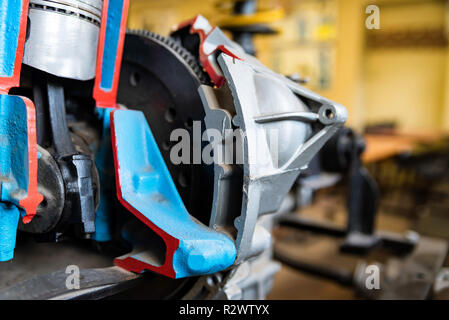 Detail of internal combustion engine in driving school - Stock Photo