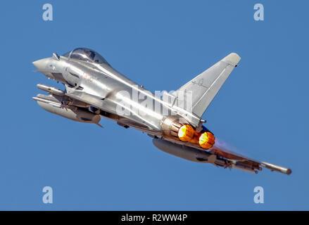 Italian Air force Eurofighter Typhoon in flight. A twin-engine, canard-delta wing, multirole fighter. - Stock Photo