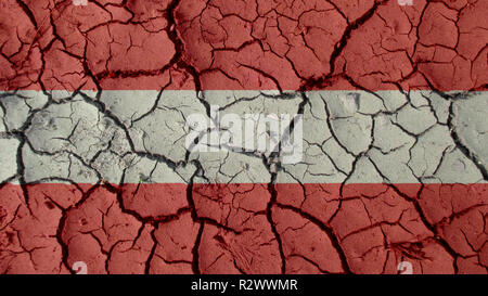 Political Crisis Or Environmental Concept: Mud Cracks With Austria Flag - Stock Photo