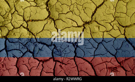 Political Crisis Or Environmental Concept: Mud Cracks With Colombia Flag - Stock Photo