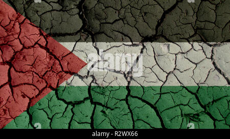 Political Crisis Or Environmental Concept: Mud Cracks With Palestine Flag - Stock Photo