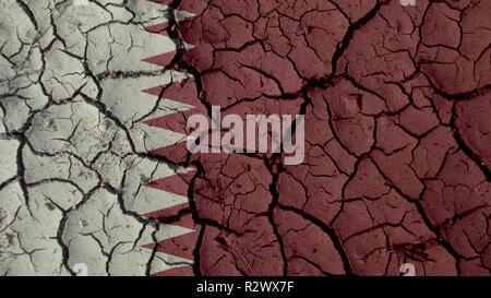 Political Crisis Or Environmental Concept: Mud Cracks With Qatar Flag - Stock Photo