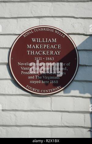 William Makepeace Thackeray Plaque at Tunbridge Wells - Stock Photo