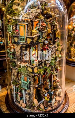 Nativity Scene shop in San Gregorio Armeno street. Naples - Stock Photo