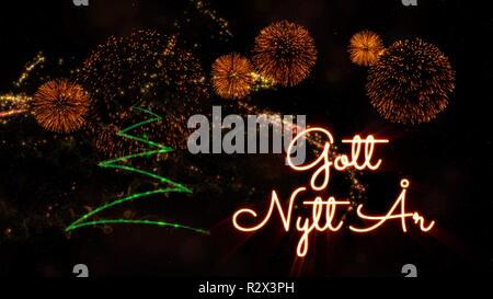 Happy New Year Text In Swedish U0027Gott Nytt Aru0027 Over Pine Tree With Sparkling