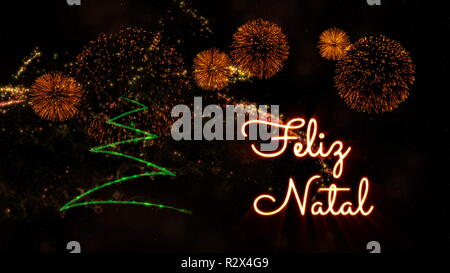 Merry Christmas text in Portuguese 'Feliz Natal' over pine tree with sparkling particles and fireworks on a snowy background - Stock Photo