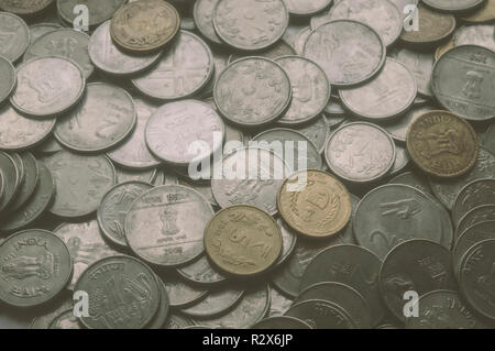 Stock pile of Hundred number 1, 10, 5 Indian rupee metal coin currency on isolated background. Financial, economy, investment concept. Banking and exc - Stock Photo