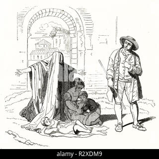 Old illustration depicting beggar and sons. After Pinelli, publ. on Magasin Pittoresque, Paris, 1846 - Stock Photo