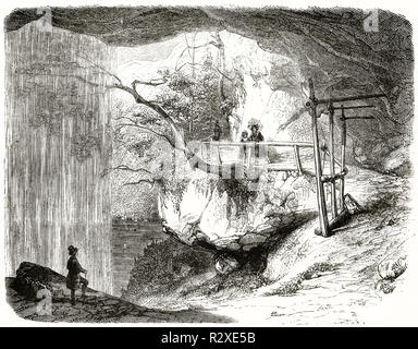 Old view of Giessbach waterfalls, Switzerland. By Girardet, publ. on Magasin Pittoresque, Paris, 1846 - Stock Photo