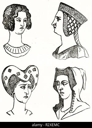 Old illustration depicting hairstyles in middle ages (14th century). By unidentified author, publ. on Magasin Pittoresque, Paris, 1846 - Stock Photo